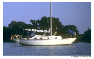 L'Escargot at Anchor in LaTrappe Creek, Chesapeake Bay