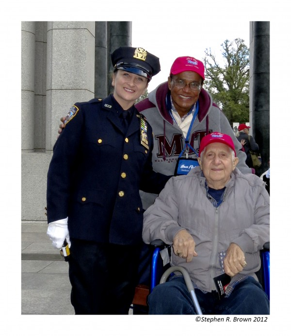 Detective Dolly Palmieri visits with her father at the WWII Memorial